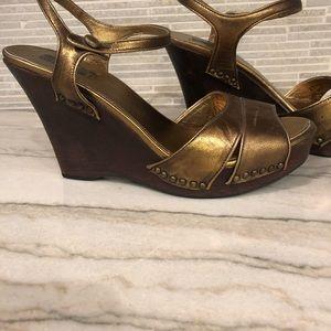 PRADA Bronze leather wooden platform wedge sandal